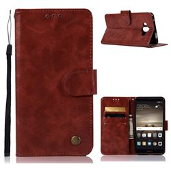 Luxury Retro Leather Wallet Case for Huawei Mate 10 (5.9 inch, front Fingerprint) - Wine Red
