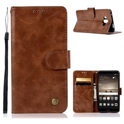 Luxury Retro Leather Wallet Case for Huawei Mate 10 (5.9 inch, front Fingerprint) - Brown
