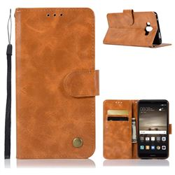 Luxury Retro Leather Wallet Case for Huawei Mate 10 (5.9 inch, front Fingerprint) - Golden