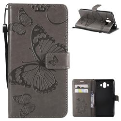 Embossing 3D Butterfly Leather Wallet Case for Huawei Mate 10 (5.9 inch, front Fingerprint) - Gray