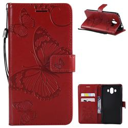 Embossing 3D Butterfly Leather Wallet Case for Huawei Mate 10 (5.9 inch, front Fingerprint) - Red