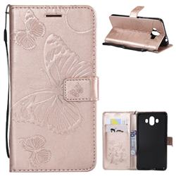Embossing 3D Butterfly Leather Wallet Case for Huawei Mate 10 (5.9 inch, front Fingerprint) - Rose Gold