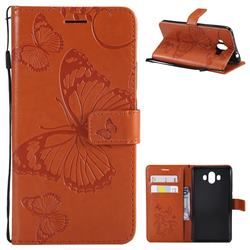 Embossing 3D Butterfly Leather Wallet Case for Huawei Mate 10 (5.9 inch, front Fingerprint) - Orange