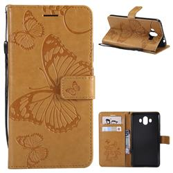 Embossing 3D Butterfly Leather Wallet Case for Huawei Mate 10 (5.9 inch, front Fingerprint) - Yellow