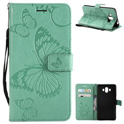 Embossing 3D Butterfly Leather Wallet Case for Huawei Mate 10 (5.9 inch, front Fingerprint) - Green