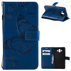 Embossing 3D Butterfly Leather Wallet Case for Huawei Mate 10 (5.9 inch, front Fingerprint) - Blue