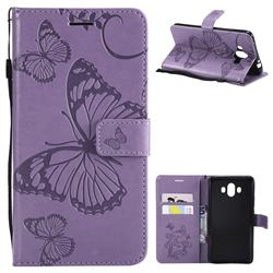 Embossing 3D Butterfly Leather Wallet Case for Huawei Mate 10 (5.9 inch, front Fingerprint) - Purple