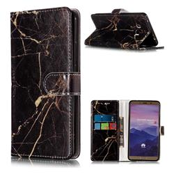 Black Gold Marble PU Leather Wallet Case for Huawei Mate 10 (5.9 inch, front Fingerprint)