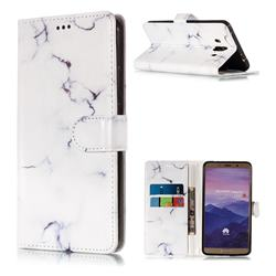 Soft White Marble PU Leather Wallet Case for Huawei Mate 10 (5.9 inch, front Fingerprint)