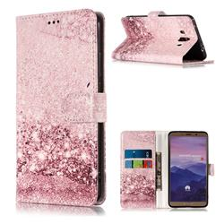 Glittering Rose Gold PU Leather Wallet Case for Huawei Mate 10 (5.9 inch, front Fingerprint)