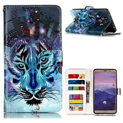 Ice Wolf 3D Relief Oil PU Leather Wallet Case for Huawei Mate 10 (5.9 inch, front Fingerprint)