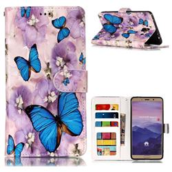 Purple Flowers Butterfly 3D Relief Oil PU Leather Wallet Case for Huawei Mate 10 (5.9 inch, front Fingerprint)