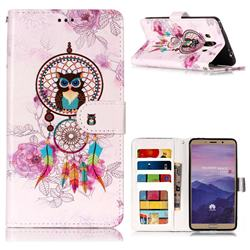 Wind Chimes Owl 3D Relief Oil PU Leather Wallet Case for Huawei Mate 10 (5.9 inch, front Fingerprint)