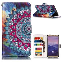 Mandala Flower 3D Relief Oil PU Leather Wallet Case for Huawei Mate 10 (5.9 inch, front Fingerprint)