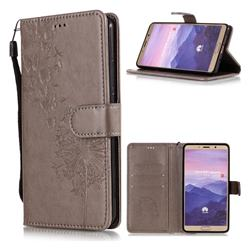 Intricate Embossing Dandelion Butterfly Leather Wallet Case for Huawei Mate 10 (5.9 inch, front Fingerprint) - Gray