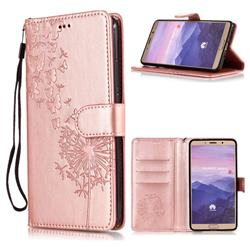 Intricate Embossing Dandelion Butterfly Leather Wallet Case for Huawei Mate 10 (5.9 inch, front Fingerprint) - Rose Gold