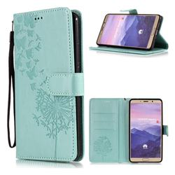 Intricate Embossing Dandelion Butterfly Leather Wallet Case for Huawei Mate 10 (5.9 inch, front Fingerprint) - Green