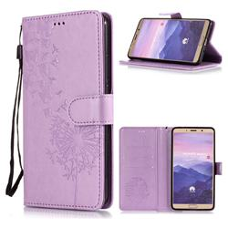 Intricate Embossing Dandelion Butterfly Leather Wallet Case for Huawei Mate 10 (5.9 inch, front Fingerprint) - Purple