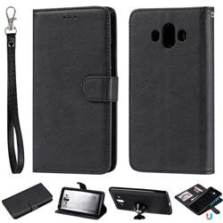Retro Greek Detachable Magnetic PU Leather Wallet Phone Case for Huawei Mate 10 (5.9 inch, front Fingerprint) - Black