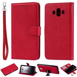 Retro Greek Detachable Magnetic PU Leather Wallet Phone Case for Huawei Mate 10 (5.9 inch, front Fingerprint) - Red