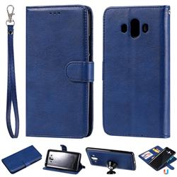 Retro Greek Detachable Magnetic PU Leather Wallet Phone Case for Huawei Mate 10 (5.9 inch, front Fingerprint) - Blue