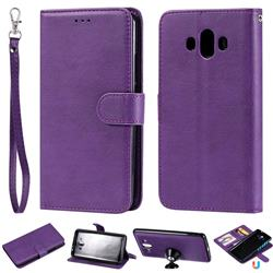 Retro Greek Detachable Magnetic PU Leather Wallet Phone Case for Huawei Mate 10 (5.9 inch, front Fingerprint) - Purple