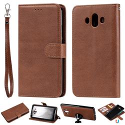 Retro Greek Detachable Magnetic PU Leather Wallet Phone Case for Huawei Mate 10 (5.9 inch, front Fingerprint) - Brown