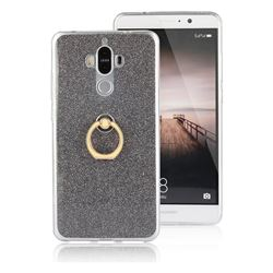 Luxury Soft TPU Glitter Back Ring Cover with 360 Rotate Finger Holder Buckle for Huawei Mate9 Mate 9 - Black