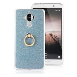 Luxury Soft TPU Glitter Back Ring Cover with 360 Rotate Finger Holder Buckle for Huawei Mate9 Mate 9 - Blue