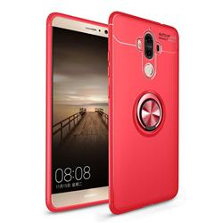Auto Focus Invisible Ring Holder Soft Phone Case for Huawei Mate9 Mate 9 - Red