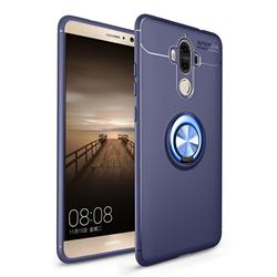 Auto Focus Invisible Ring Holder Soft Phone Case for Huawei Mate9 Mate 9 - Blue