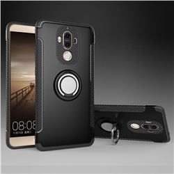 Armor Anti Drop Carbon PC + Silicon Invisible Ring Holder Phone Case for Huawei Mate9 Mate 9 - Black