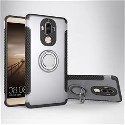 Armor Anti Drop Carbon PC + Silicon Invisible Ring Holder Phone Case for Huawei Mate9 Mate 9 - Silver