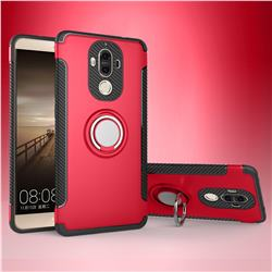 Armor Anti Drop Carbon PC + Silicon Invisible Ring Holder Phone Case for Huawei Mate9 Mate 9 - Red
