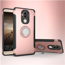 Armor Anti Drop Carbon PC + Silicon Invisible Ring Holder Phone Case for Huawei Mate9 Mate 9 - Rose Gold