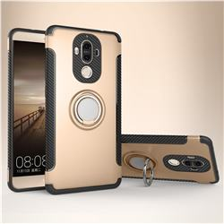 Armor Anti Drop Carbon PC + Silicon Invisible Ring Holder Phone Case for Huawei Mate9 Mate 9 - Champagne