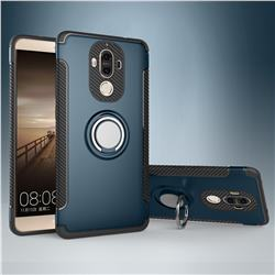 Armor Anti Drop Carbon PC + Silicon Invisible Ring Holder Phone Case for Huawei Mate9 Mate 9 - Navy