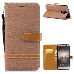 Jeans Cowboy Denim Leather Wallet Case for Huawei Mate9 Mate 9 - Brown