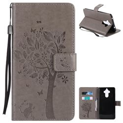 Embossing Butterfly Tree Leather Wallet Case for Huawei Mate9 Mate 9 - Grey