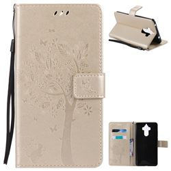 Embossing Butterfly Tree Leather Wallet Case for Huawei Mate9 Mate 9 - Champagne