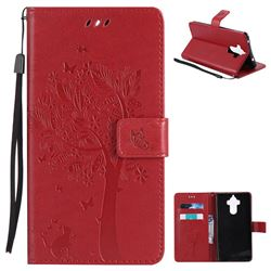 Embossing Butterfly Tree Leather Wallet Case for Huawei Mate9 Mate 9 - Red