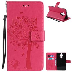 Embossing Butterfly Tree Leather Wallet Case for Huawei Mate9 Mate 9 - Rose