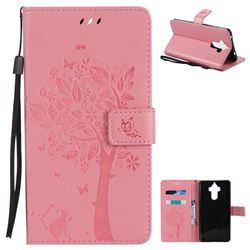 Embossing Butterfly Tree Leather Wallet Case for Huawei Mate9 Mate 9 - Pink