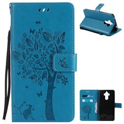 Embossing Butterfly Tree Leather Wallet Case for Huawei Mate9 Mate 9 - Blue