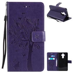Embossing Butterfly Tree Leather Wallet Case for Huawei Mate9 Mate 9 - Purple