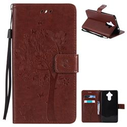 Embossing Butterfly Tree Leather Wallet Case for Huawei Mate9 Mate 9 - Brown
