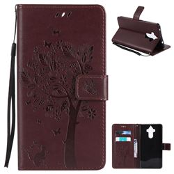 Embossing Butterfly Tree Leather Wallet Case for Huawei Mate9 Mate 9 - Coffee