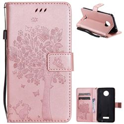 Embossing Butterfly Tree Leather Wallet Case for Huawei Mate9 Mate 9 - Rose Pink