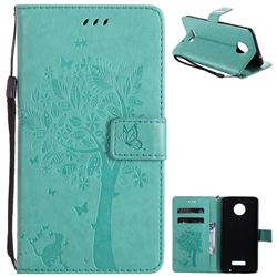 Embossing Butterfly Tree Leather Wallet Case for Huawei Mate9 Mate 9 - Cyan