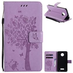 Embossing Butterfly Tree Leather Wallet Case for Huawei Mate9 Mate 9 - Violet